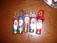 Parker would love this. he finds these all the time on our hikes. Cute use of empty shot gun shells Shell Decorations, Christmas Decorations, Christmas Ornaments, Holiday Decorating, Shotgun Shell Crafts, Shotgun Shells, Holiday Crafts, Holiday Fun, Holiday Ideas