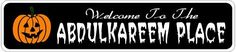 ABDULKAREEM PLACE Lastname Halloween Sign - Welcome to Scary Decor, Autumn, Aluminum - 4 x 18 Inches by The Lizton Sign Shop. $12.99. Rounded Corners. Aluminum Brand New Sign. Great Gift Idea. 4 x 18 Inches. Predrillied for Hanging. ABDULKAREEM PLACE Lastname Halloween Sign - Welcome to Scary Decor, Autumn, Aluminum 4 x 18 Inches - Aluminum personalized brand new sign for your Autumn and Halloween Decor. Made of aluminum and high quality lettering and graphics. M...