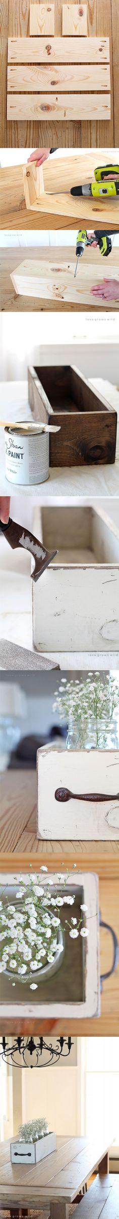 Lindos centros de mesa con gavetas reusadas / http://lovegrowswild.com/