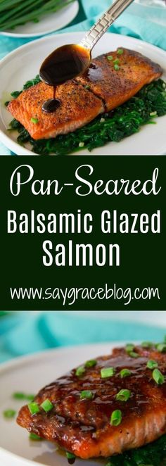 This decadent Pan-Seared Balsamic Glazed Salmon is full of flavor and on the table in less than 30 minutes. Salmon Balsamic Glaze, Glazed Salmon, Honey Salmon, Pan Seared Salmon, Shellfish Recipes, Seafood Recipes, Steak Recipes, Baked Salmon Recipes, Tutus