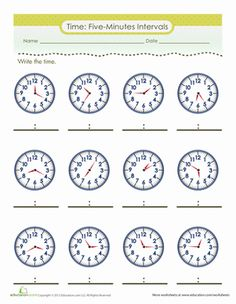 Second Grade Time Worksheets: Telling Time to Five Minutes