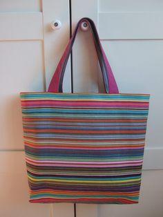 Reversible Deckchair Stripe Canvas Beach Bag by HandStitchedHeaven