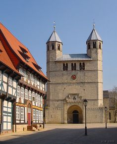"Church of Gandersheim Abbey in Bad Gandersheim, Germany.  Otto I ""the Illustrious"" aka Otto of Saxony (851 - 912) and his wife, Hadwiga of Babenberg, are buried in Gandersheim Abbey; they are Mike's 34th great grandparents.  Liudolf Of Saxony (d. 866), father of Otto, and his wife, Oda von Billung (d. 913) are also buried here; they are Mike's 35th great grandparents."