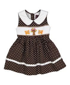 Brown Polka Dot Tree & Fox Dress - Infant, Toddler & Girls