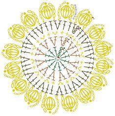 patrongirasolsusimiu Crochet Mandala Pattern, Crochet Circles, Crochet Doily Patterns, Crochet Diagram, Crochet Chart, Crochet Squares, Crochet Doilies, Crochet Flowers, Crochet Stitches