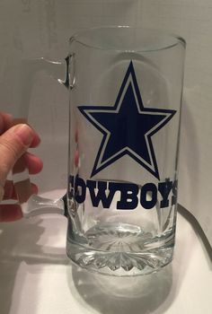 Beer mug with Dallas Cowboys logo by MEdazzlingdesigns on Etsy