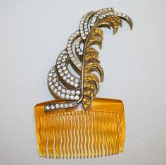 Comb, 1938, French, plastic, metal, glass, Height: 4 1/2 in. (11.4 cm)