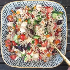 I made a really easy couscous salad for lunch this week just using items in my fridge.  I used Israeli Couscous + cherry tomatoes + cucumber + red onion + kalamata olives + orange bell pepper + fresh mozzarella and parsley.  Then I drizzled olive oil and red wine vinegar ( and salt and pepper) over it.  Super easy and tasty.