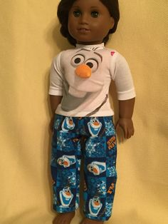 Two Piece Olaf Pajamas for American Girl Dolls by ItIsSewYou on Etsy