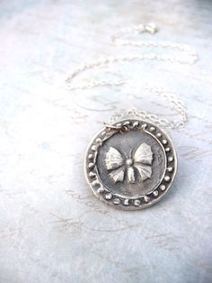 Butterfly wax seal necklace jewelry pendant charm handmade from recycled fine silver