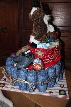 DIY western diaper cake - fun way to wrap a gift.