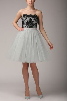 Grey pearl tulle skirt Handmade tutu skirt High by Fanfaronada