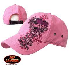 07de0cbeb27 Ladies Lets Ride Heart Pink Adjustable Ball Cap Harley Gear
