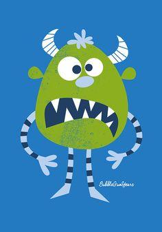 Nursery art boy boys monster print set monster by BubbleGumYears