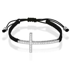 Sterling Silver CZ Sideways Cross on Black Cord Macrame Bracelet Beaux Bijoux. $33.99. Gift box included. Can be delivered next Business Day!. A unique new way to wear a pretty cross. Crafted of 925 Sterling Silver. Save 48%!