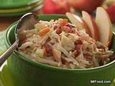 They say an apple a day keeps the doctor away, but it also adds a whole new twist to one of our long-time favorites! Between the crunch of the cabbage, the tartness of the apple, and the smokiness of the bacon, our Apple Bacon Coleslaw is truly a winner.