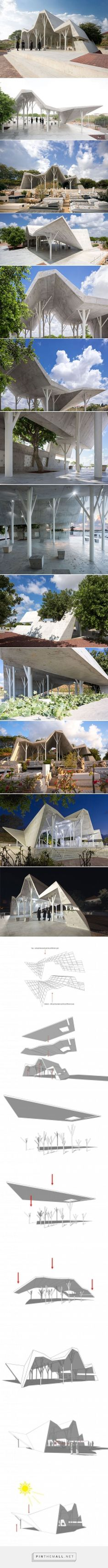 ron shenkin places concrete folded canopy over cemetery pavilion in israel - created via pinthemall.net