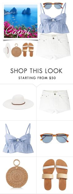 """""""Capri"""" by xaia ❤ liked on Polyvore featuring Physician Endorsed, Yves Saint Laurent, Maryam Nassir Zadeh, Persol, Burberry, Isapera, Summer, beachwear, ruffles and capri"""