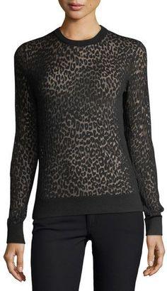 Michael Kors Burnout Leopard-Print Top