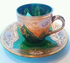 Moser Green Enameled Gold Gilt Cup Saucer Bohemian Czech Floral