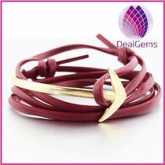 Wholesale fashion men leather anchor bracelet