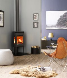 Jotul F 163 C wood burning stove white in room setting