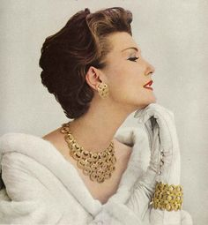 50s model Mary Jane Russell in an advert for Monet jewellery from Vogue September 1957