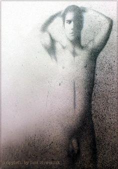 """""""Desnudo masculino"""". Técnica: puntillismo y diversos recursos gráficos, sobre un soporte de papel reciclado. (70 x 40 cm.) Copyleft, by luis chwesiuk"""