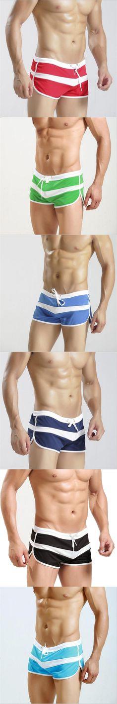 2018 Summer Brand Men's Shorts stripe home Sleepwear breathable wicking Casual shorts  Cool Men's Shorts inner capsular bag