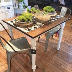 Table for 2? We have the cutest petite dining table in the shop this weekend! {the chairs are sold but we still have a few in black and the galvanized metal are on order!} come see us Friday or Saturday 10-4! #urbanfarmgirl #rockfordil #gorockford by urban.farmgirl