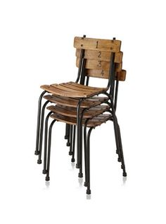 """These reclaimed public school chairs are reminiscent of the first days of learning. Each seat back features the numbers 1 through 4 on the front, with """"Public School"""" painted on the back side. Restaurant Tables And Chairs, Restaurant Furniture, Reclaimed Furniture, Industrial Furniture, Industrial Living, Industrial Chic, Vintage Industrial, Fire Pit Chairs, School Chairs"""