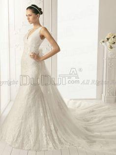 Mermaid/Trumpet Lace V-neck Straps Sweep Flower Wedding Dresses, Wedding Gowns, Bridal Gown, Bridal Dresses   www.duduta.com
