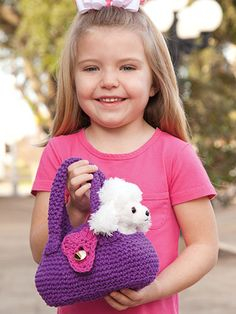 Best Friend Bag Crochet Pattern Download from e-PatternsCentral.com -- Your child's favorite furry-friend toy can travel in style, too, with his or her own classy travel carrier!