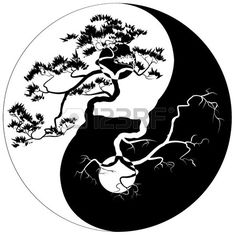 Black and white Bonsai tree on the Yin Yang symbol. Free art print of Yin Yang Bonsai. Arte Yin Yang, Ying Y Yang, Yin Yang Art, Yin And Yang, Yin Yang Tattoos, Tatuajes Yin Yang, Tattoo Drawings, Body Art Tattoos, Tattoo Ideas
