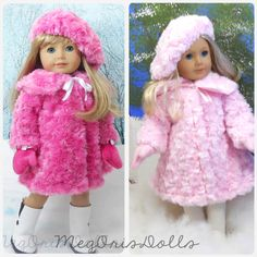 American Girl Doll Fur Coat in Pink comes with Hat and Mittens