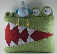Hungry Alligator Pillow PDF Knitting Pattern.  via Etsy.