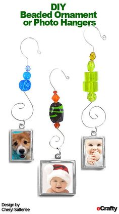 Beaded Christmas or Photo Ornaments from eCrafty.com  These are great to make now for the coming holidays ~ These would be just as cute hanging in a window where they can catch the sunlight!