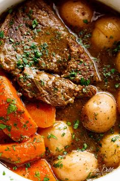 Slow Cooked Balsamic Pot Roast is perfect for an easy weekday or weekend dinner! Minimal work and maximum taste happens underneath that slow cooker lid! | cafedelites.com