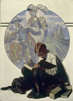 Boy Reading Adventure Story (1923) by Norman ROCKWELL.    Collection of George Lucas. Boy, Reading, Book, Imagination, Lost in a good book.