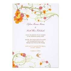 fatfatin Yellow Hibiscus Swirls  Swallows Wedding Custom Invite  Click on photo to purchase. Check out all current coupon offers and save! http://www.zazzle.com/coupons?rf=238785193994622463&tc=pin