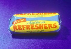 Refreshers. Flat fruit chewy sweets with sherbet in the middle 1970s.