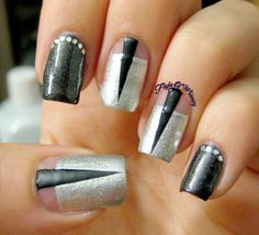 Inspiration on Black Spikes by Eva Klinman. Check out more Nails on Bellashoot. Nail Art Diy, Cool Nail Art, Joy Nails, Glitter Chevron, Holiday Break, Nails Inspiration, Cute Art, Nail Art Designs, Fashion Art
