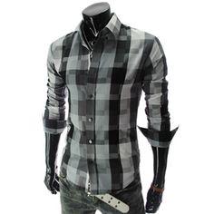 (CZ15-BLACK) Slim fit Long Sleeve Checker Shirts, $29.99