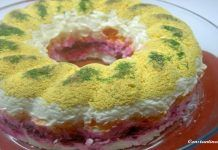 """Salad in """"layers"""" for festive tables. It's a really delicious salad! It is like a cake, with lots of colors and flavors ! Tasty and impressive! Easy Cooking, Cooking Recipes, Salad Cake, Dips, New Years Dinner, Rainbow Salad, Cold Dishes, Garlic Parmesan, Vanilla Cake"""