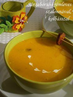 Hankka: Sárgaborsó-krémleves szalonnával, kolbásszal Goulash, Thai Red Curry, Soup Recipes, Bacon, Food And Drink, Pizza, Pudding, Dishes, Cooking