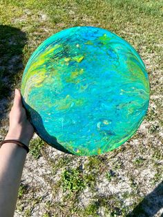 "Acrylic Pour Painting 12"" Wood Round ArtsyEmsDesigns"