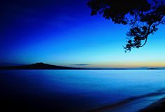 Sunrise over Rangitoto Island, Auckland, New Zealand.