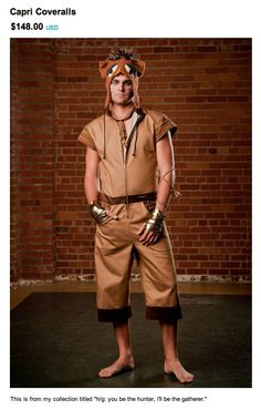 I'm not sure if even Burning Man would be an excuse for this. Those metal fingerless gloves are hot. Capri Carhartt overalls are not.