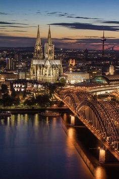 Cologne at Dusk, Germany - Cologne Cathedral is a Roman Catholic church renowned monument of German Catholicism and Gothic architecture and is a World Heritage Site. It can be seen from nearly every point in the city centre and from many places elsewhere. Places Around The World, Oh The Places You'll Go, Places To Travel, Places To Visit, Around The Worlds, Wonderful Places, Beautiful Places, Beautiful Life, Cologne Germany
