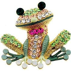 Erinite Green Frog Pin Swarovski Crystal Pin Brooch And Pendant buy at mariescrystals.com